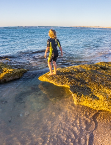 Mia exploring the rock pools, Ningaloo Coast